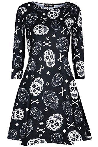 Oops Outlet Damen Halloween Gespenstisch unheimlich Horror Kostüm Swing Skater Minikleid - schwarz weiß Totenköpfe, Plus Size (UK (Halloween Size Plus Für Kostüme Erwachsene)