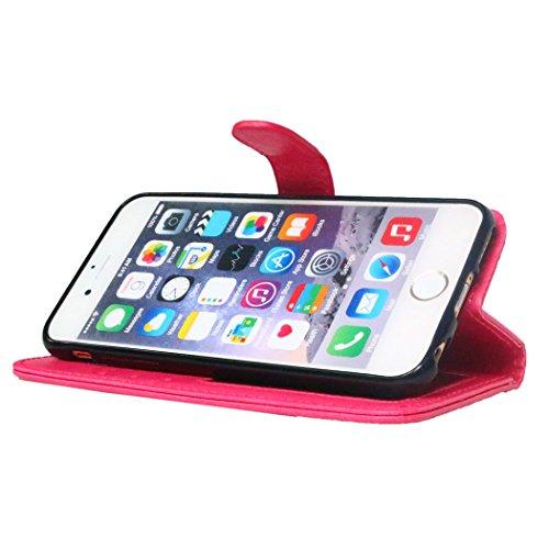 Für iPhone 6S Leder Brieftasche Hülle Case Flip Cover - Funyye [Schwarz Solide Farbe] Magnetic PU Ledertasche Hüllen Flip Cover Telefon-Kasten Handyhülle Bookstyle Wallet Brieftasche Card Slot Handyca Hot Pink