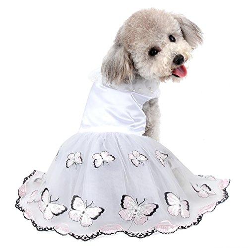 selmai New 2018Pet Schmetterling Prinzessin Kleid für kleine Hunde Mädchen Tüll Tutu Rock Hochzeit Puppy Kleidung (nur für kleine Haustiere)