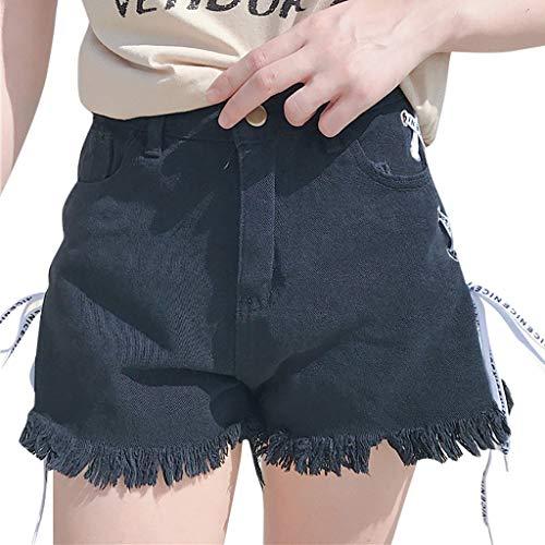 WOZOW Shorts Kurze Hose Damen Denim Short Jeans Side Riemchen Frayed Hem Loose Lose High Waist A Line Casual Distressed Mode Mini Stoffhose Freizeithose (L,Schwarz) - Leder-low Rise Flare Jeans