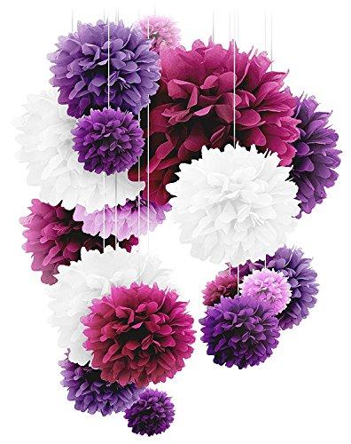 Papier-Bommeln–20Stück (25,4, 30,5 und 35,6cm),Papierblumen, perfekt für Hochzeitsdekoration, Geburtstag, Tisch- und Wanddekoration -