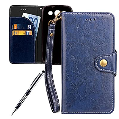 Galaxy S3 neo Case, Galaxy S3 Cover, JAWSEU [Shock-Absorption] Luxury Solid Retro Premium PU Leather Flip Cover for Samsung Galaxy i9300 Protector Skin with Soft Silicone Case Credit ID Card Slots Magnetic Closure Kickstand Strap Phone Pouch Smartphone Sh