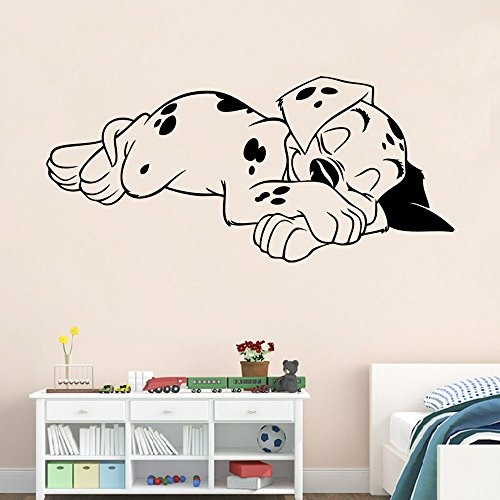 ZLYAYA Papel pintado,Pegatinas de pared,Adhesivo de pared durmiendo cachorro Dormitorio Salón mural decorativo Sticker (57*26cm)