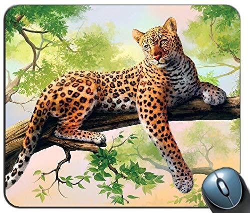 Arte del leopardo tappetino per mouse rettangolo personalizzato, gomma antiscivolo stampata tappetino per mouse mouse pad confortevole per computer personalizzato