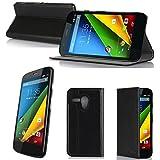 Nera Custodia Pelle Ultra Slim per Motorola Moto G 4G/LTE 8Gb/16Gb smartphone - Flip Case Funda Cover protettiva Motorola MotoG 4G (PU Pelle - Nero/Black) - XEPTIO accessori