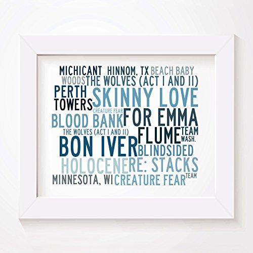 `Crystalline` Kunstdruck Poster - BON IVER - Unterzeichnet und Nummerierten Limitierte Auflage Singles Typografie Ungerahmt 25 x 20 cm (10 x 8 inch) Wand Kunst Druck Text Lyrisch Grafik - Vinyl-grafik-band