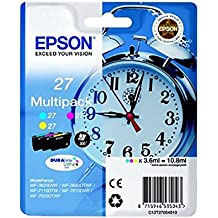 Epson Alarm Clock No.27 Series Standard Ink Cartridge - Multi-Coloured, Pack of 3