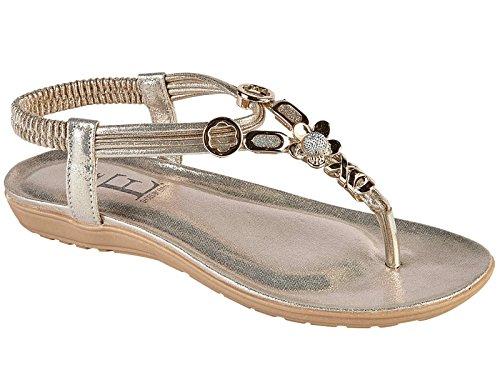 Foster Footwear Sandali da Ragazza' Donna Gold Flower