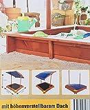 Unbekannt Sandkasten mit verstellbarem Dach Sandkiste Spielhaus Sitzbänke Holz Plane blau