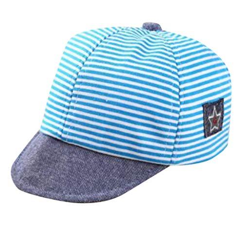 Louyihon-Kleidung Kindercap Kleinkind-Baby Jungen Netter Buchstabe weiche Dachgesimse Baseballmütze Sun Barett Hut gestreift für Schule, Reise, das Klettern, Reiten, tägliches Tragen(Himmelblau) -