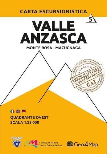 Carta escursionistica Valle Anzasca quadrante Ovest. Ediz. italiana, inglese e tedesca: 6