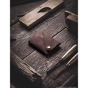 Minimalistischer Brieftasche/Kartenhalter aus Leder Wood Brown, Crazy Horse Leder Geldbörse/Kartenhalter, braune schlanke Geldbörse, Unikat, handgefertigte Unisex-Geldbörse, Crazy Horse Craft