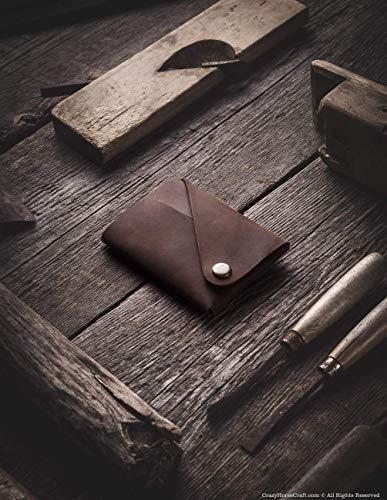 Minimalistischer Brieftasche/Kartenhalter aus Leder Wood Brown, Crazy Horse Leder Geldbörse/Kartenhalter, braune schlanke Geldbörse, Unikat, handgefertigte Unisex-Geldbörse, Crazy Horse Craft -