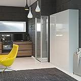 Schrankbett 140cm Vertikal Weiß Hochglanzfront mit SMART Punkt Kaltschaummatratze 140x200cm, ideal als Gästebett - Wandbett, Schrank mit integriertem Klappbett, SMARTBett