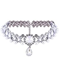YAZILIND Collier de chaîne réglable Bride femmes Jewerly Inlay strass Crystal Pearl Plaqué Charme