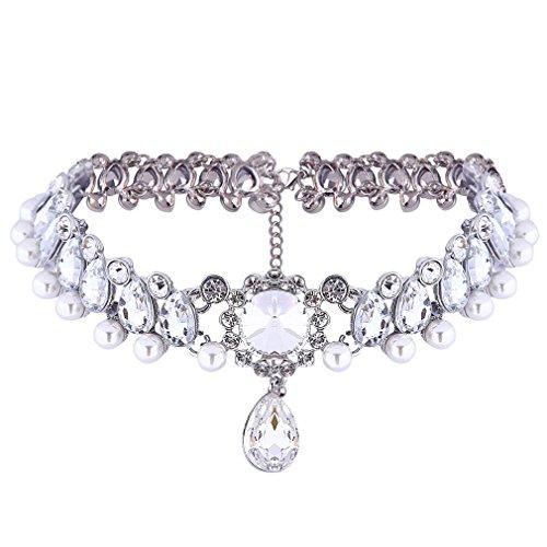 Yazilind Bride Frauen Schmuck Inlay Strass-Perlen-Kristall Charme justierbare Kette Halskette -