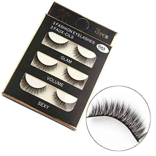 LuckyGirls 3 Paar Luxus Professional Kunsthaar wimpern 3D Falsche Wimpern Flauschigen Natürliche Lange Augen Wimpern Make-up