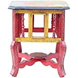 APKAMART Handcrafted Bedside Table - 18 inch Height - Handicraft Corner End Table for Room Decor, Home Decor and Gifts