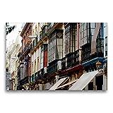 Calvendo Premium Textil-Leinwand 75 cm x 50 cm quer, Bunte Fassaden | Wandbild, Bild auf Keilrahmen, Fertigbild auf echter Leinwand, Leinwanddruck: Sevilla Orte Orte