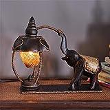 LUCKY CLOVER-A Tischlampe Thailand MöBel Lampe Elefant Bambus Weben Hotel Schlafzimmer Nachttisch Kreative Dekoration SüDostasiatischen Stil Retro NatüRlich Handgemacht