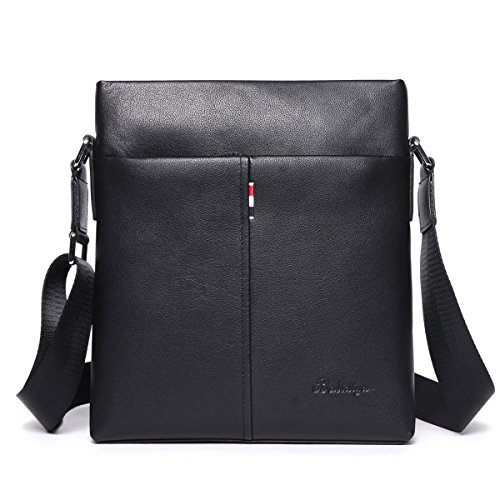 Real Leather Vertical Shoulder Bag for Men Small Business Messenger Bags  One Cross Over Body Side Ipad Bag Black. by leashell e1f9a8bf21