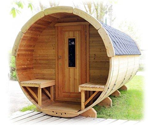 Finnische Sauna Fass-Sauna für bis zu 8Personen Fass für Verwendung im Außenbereich Außen 2,0mXd.1,9m-STUFA ELETTRI