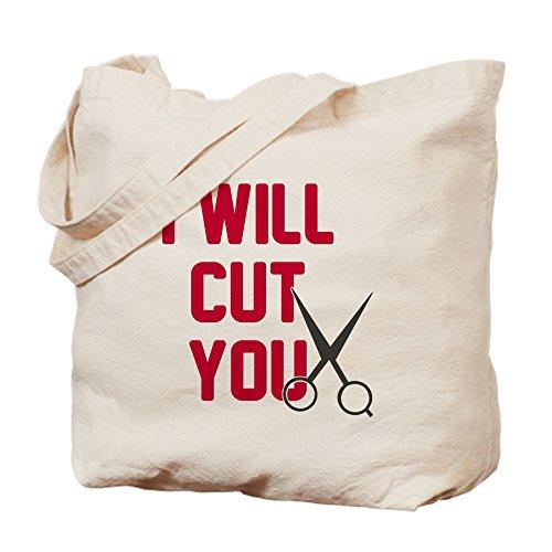 CafePress I Will Cut You Tragetasche Tote M khaki