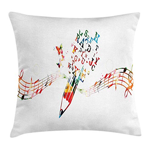 BUZRL ABC Classroom Throw Pillow Cushion Cover, Musical Notes Treble Clef Alphabet Butterflies Creative Writing Concept, Decorative Square Accent Pillow Case, 18 X 18 inches, Multicolor
