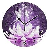 Domoko Home Decor Lila Lotus Blume Schmetterling Acryl, Rund Wanduhr Geräuschlos Silent Uhr Kunst für Wohnzimmer Küche Schlafzimmer