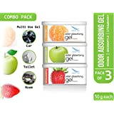 Clean Air Home Car Air Freshener Gel - 50 g (Pack of 3, Orange, Green Apple, Strawberry)