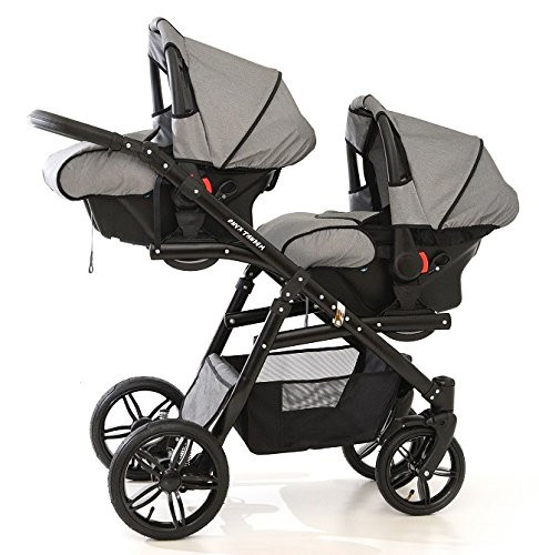Double pram for twins. 2 buggies + 2 car seats. Grey. BBtwin Berber Carlo Directly from the factory, warranty and advice. Made un the EU according to the regulations EN1888 and ECE44/04. Colour grey. Includes 2 buggy seats, 2 car seats, bag, 2 footcovers, 2 rain covers, 2 mosquito nets, lower basket, Features: lightweight aluminium frame, easy bending, adjustable handlebar, central brake, lockable front swivel wheels, shock absorbers, each buggy can be instaled independently in both directions, carrycots with a mattress and a washable cover, backrest adjustable in various positions, safety bar and harness of 5 points 1