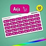 Stickerella - 30 Namensaufkleber für Kinder - Namensetiketten für Schule und Kindergarten, personalisierbar, permanent, wasserfest (11 x 26 mm) (magenta)