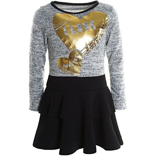 (BEZLIT Mädchen Kinder Spitze Winter Kleid Peticoat Fest Kleider Lang Arm Kostüm 20798 Grau Größe 128)