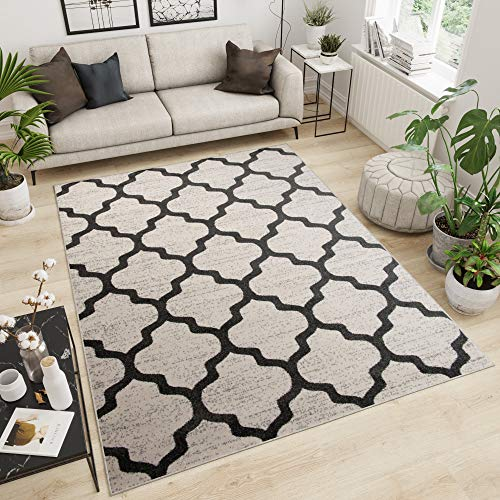 Marokkanisches Gitter (Tapiso MAROKO Teppich Modern Kurzflor Designer Geometrisch Marokkanisch Gitter Muster Beige Braun Wohnzimmer ÖKOTEX 120 x 158 cm)