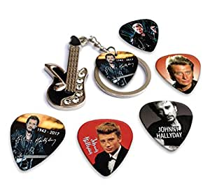 johnny hallyday mini guitar keyring porte cl s 5 x guitar m diators guitare. Black Bedroom Furniture Sets. Home Design Ideas