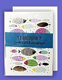 Feste Feiern zur Kommunion I 5 Teile Einladung Doppelkarten mit Briefumschlägen I Fische mit blauer Banderole