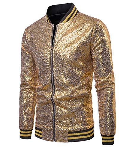 Herren Sequin Jacke Zip Blazer Baseball Tops Sparkle Metallic Nachtclub Langarm Down Männer 70er Jahre Disco Varsity Bomber Shirt Party Kostüm (S, - 70's Disco Pimp Kostüm