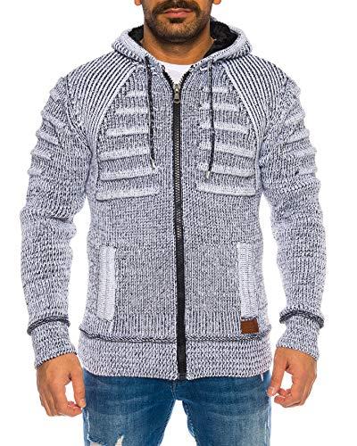 Raff&Taff Herren Jacke Strickjacke Strickpullover bis 3XL   Warm, Weich, Wolle   Wohlfühlen mit Style (Weiß(781), 3XL)