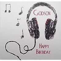 WHITE COTTON CARDS Godson Happy, Handmade Boys Birthday Card (Headphones)
