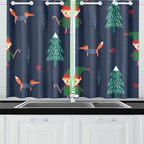 JOCHUAN Weihnachtsbaum Elf Candy Cane Fox Küchenvorhänge Fenster Vorhangebenen für Café, Bad, Wäscherei, Wohnzimmer Schlafzimmer 26 X 39 Zoll 2 (Candy Cane Kostüm Für Erwachsene)