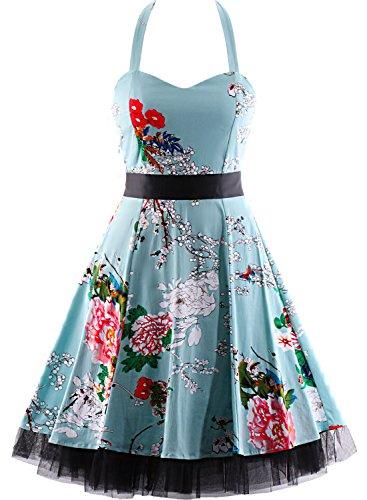 Damen Kleid OTEN 1950er Neckholder Vintage Retro Partykleider Festliche Rockabilly Kleid Cocktailkleid