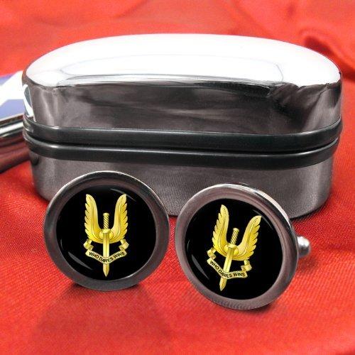 Family Crests Spéciale Air Service (SAS) Badge Hommes Boutons avec Boîte Cadeau Chrome