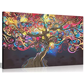 Psychedelic trippy art tree canvas wall art picture print 36x24in