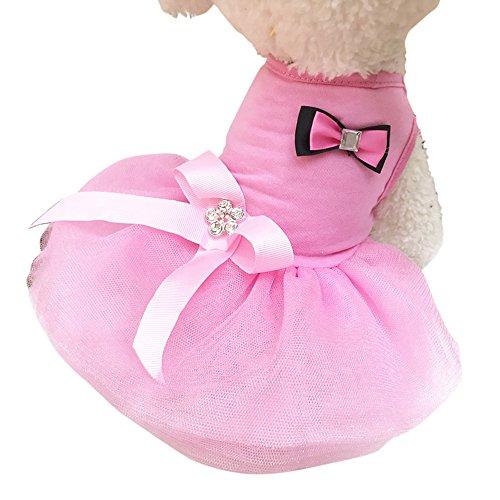Roblue Hunde Kleider Kostüme Spitze Tutu Rock Rosa Rot Lila Gelb Rose Blau mit Schleife Welpen Sommer Party - Rosa Schleife Kostüm