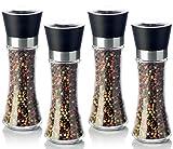 Moulin à poivre Moulin à sel Moulin à épices set (4pièces) vide avec broyeur en céramique–Récipient en verre véritable (pas de verre acrylique)–200ml–Hauteur 19cm–Noir