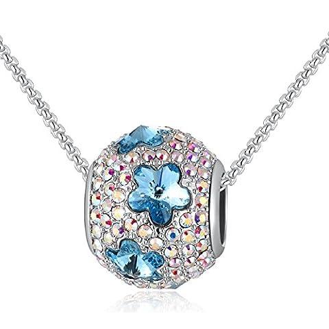 Kette Damen mit Charms Anhänger Pavé mit Swarovski-Kristallen, Glücksstern oder Schmetterling Muster, Mehrfachverwendung - Ein Kompakter Charme Perle für Meisten Armbänder, Geschenke Frauen Mädchen