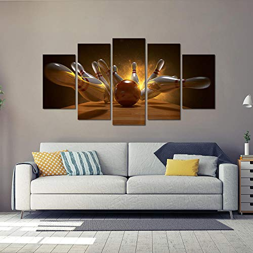 inwandbilder -In Leinwanddrucke Leinwand Bowling Wandkunst 3D Rendering Bowlingkugel Bowling Pins Poster Bild Drucke Auf Leinwand Malerei Für Wand-A Rahmenlos ()