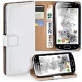 moex Samsung Galaxy Ace 2 | Hülle Weiß mit Karten-Fach 360° Book Klapp-Hülle Handytasche Kunst-Leder Handyhülle für Samsung Galaxy Ace 2 Case Flip Cover Schutzhülle Tasche