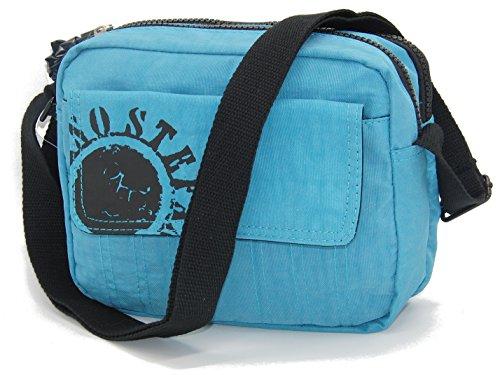 STEFANO Umhängetasche Crinkle Nylon Handtasche Rucksack Shopper Tasche Bauchtasche verschiedene Modelle --präsentiert von RabamtaGO®-- (mittel-Blau) (Handtasche Nylon Crinkle)