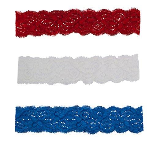 Lux Zubehör Rot Weiß Blau American Flag Spitze Stretch Stirnband Set